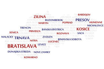 SLOVAKIA map made from cities with the country name