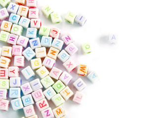 Image of various colorful blocks with the alphabet