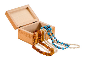 amber pearl necklace jewelry wooden box isolated