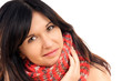 black haired woman with scarf
