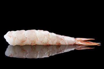Raw shrimp tail isolated