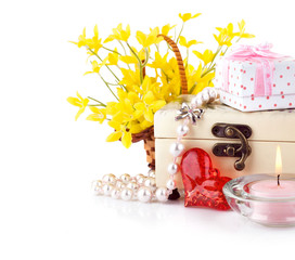 valentine's day concept with gift and flowers isolated on