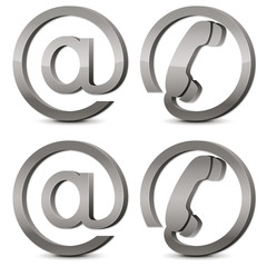 Set of 3d silver icons email & phone