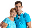 Hispanic man hugging his mother isolated on white