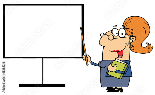 Female Teacher Pointing To A Blank Board
