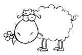 Fototapety Outlined Sheep Carrying A Flower In Its Mouth