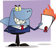 Shark Businessman Holding A Flaming Bad Contract In His Hand