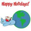 Santa Claus Flying His Plane Around The Globe