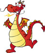 Happy Red Dragon Cartoon Character