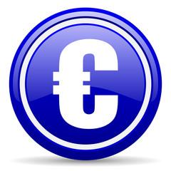 euro blue glossy icon on white background