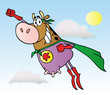 Super Hero Cow Fly In The Sky