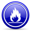 flames blue glossy icon on white background
