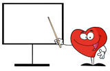 Red Heart Shows A Pointer On A Board