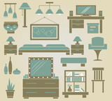 set of vector furniture icons for bedroom