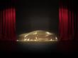 Neuwagen Präsentation auf Show Bühne unter Goldenen Stoff