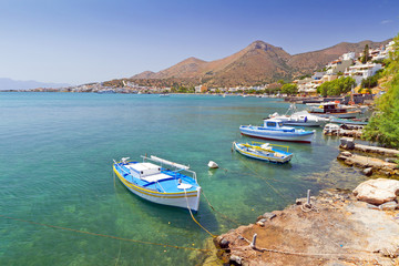 Small fishing boats on the coast of Crete, Greece