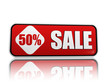 50 percentage off sale red banner