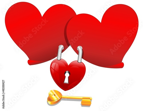 Locked Love Hearts with Padlock-Cuori con Lucchetto-Vector