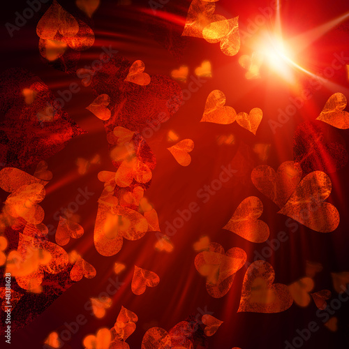 orange hearts with lights