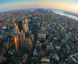 Fisheye view over lower Manhattan, New York - 48389841