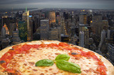 Fototapety N.Y. Pizza margherita fly to the town