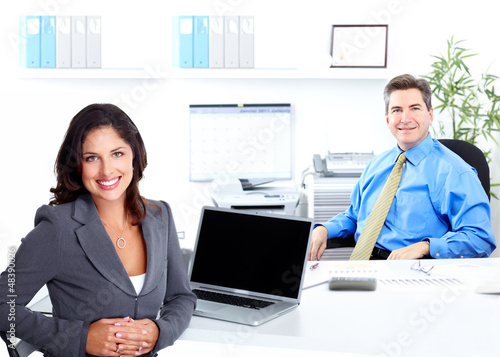Business woman with laptop, computer.