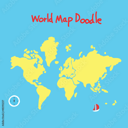 Deurstickers Wereldkaart world map doodle