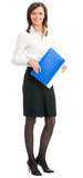 Full body of businesswoman with folder, on white