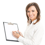 Happy businesswoman writing on clipboard, on white