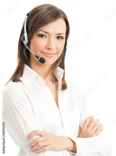 Portrait of support phone operator in headset, isolated