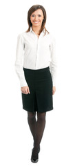 Full body of walking businesswoman, on white