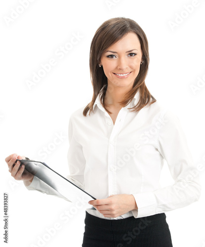 Happy businesswoman with clipboard, isolated