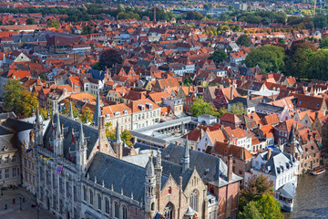 top view to Bruges, Belgium
