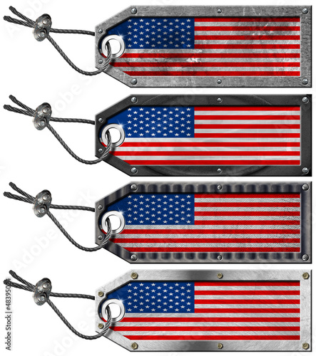 USA Flags Set of Grunge Metal Tags