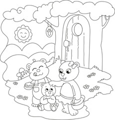 3 cute bears. Coloring illustration for little kids.