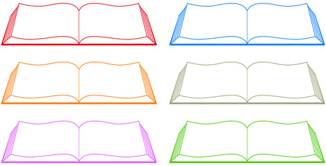 set isolated colorful book silhouette