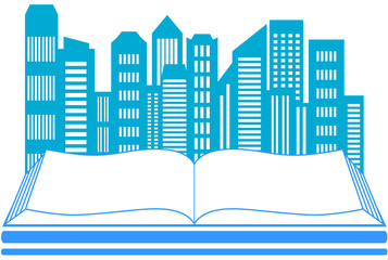 icon with skyscraper and book - real estate symbol