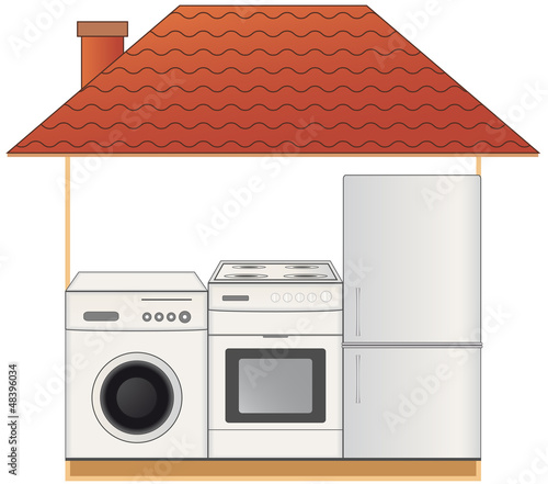 gas stove, washing machine and refrigerator