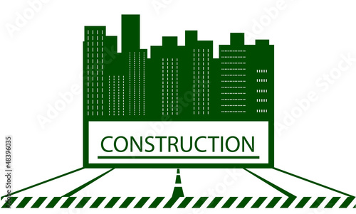 green urban construction symbol with skyscraper