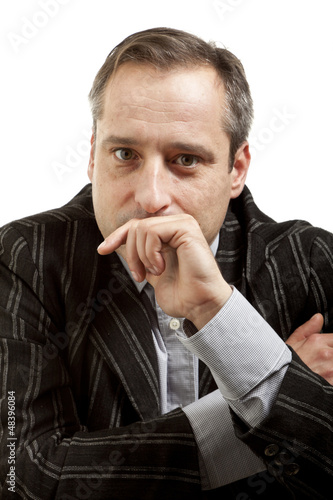 portrait of adult man isolated on white background