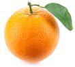 Orange with leaf on a white background.
