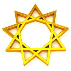Golden nine pointed star, 3d