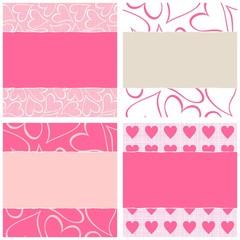 różowy beżowy biały podarty papier w serca zestaw