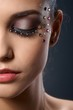 Beautiful luxury makeup with strasses