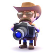 Cowboy takes a photo with his camera