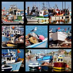 Seven mosaic photos of fishing boats