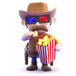 Cowboy enjoys popcorn while watching a 3d film