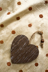 riser card, wooden heart
