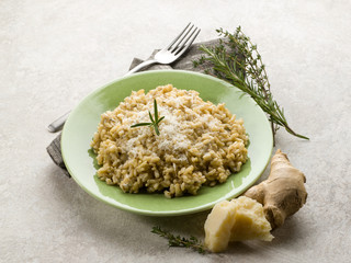 integral risotto with ginger rosemary  parmesan  and gorgonzola
