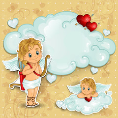 cupid on clouds and roses